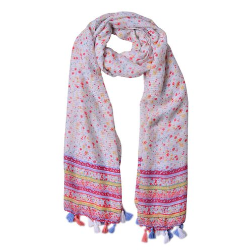 Pink, Yellow and Multi Colour Floral Pattern Scarf with Tassels (Size 180X90 Cm)