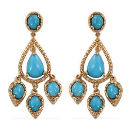 Arizona Sleeping Beauty Turquoise (Pear) Earrings (with Push Back) in 14K Gold Overlay Sterling Silver 3.500 Ct.