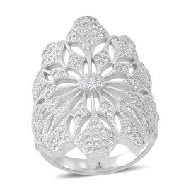 Signature Collection ELANZA AAA Simulated White Diamond (Rnd) Floral Ring in Rhodium Plated Sterling Silver