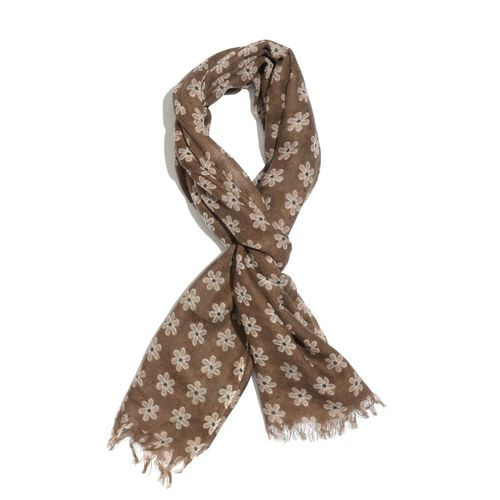 Limited Available-100% Merino Wool White Floral Pattern Brown Colour Scarf with Fringes (Size 180x70 Cm)