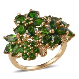 Russian Diopside (Ovl) Ring in 14K Gold Overlay Sterling Silver 5.750 Ct.