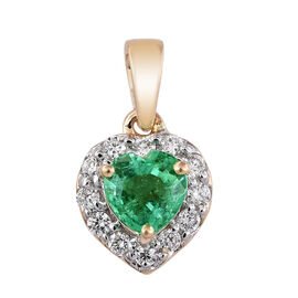 ILIANA 18K Yellow Gold 0.75 Carat Boyaca Colombian Emerald Heart Pendant With Diamond