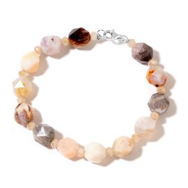 Crazy Lace Agate Bracelet (Size 7.5) in Rhodium Plated Sterling Silver 74.000 Ct.