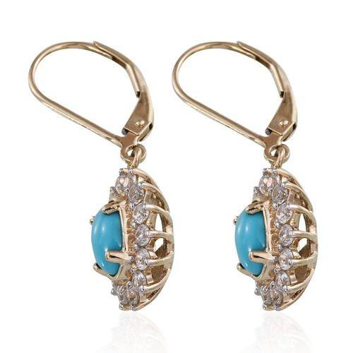 9K Y Gold Arizona Sleeping Beauty Turquoise (Ovl), Natural Cambodian Zircon Lever Back Earrings 2.750 Ct.