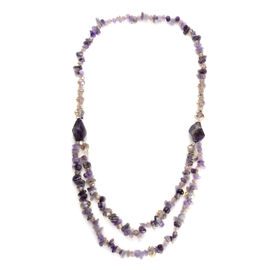 Amethyst, Champagne Glass and White Austrian Crystal Necklace (Size 30) in Silver Tone