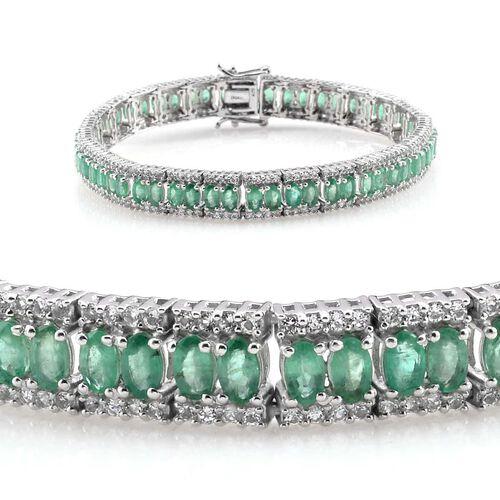 Kagem Zambian Emerald (Ovl), White Topaz Bracelet in Platinum Overlay Sterling Silver (Size 7.5) 15.250 Ct.