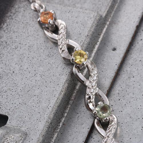 Rainbow Sapphire (Rnd) Adjustable Infinity Bracelet (Size 6.5 to 8.5) in ION Plated Platinum Bond