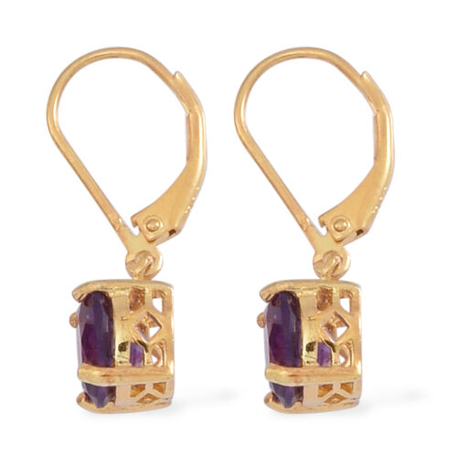 Amethyst (Rnd) Lever Back Earrings in 14K Gold Overlay Sterling Silver 3.500 Ct.