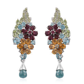 GP Paraiba Apatite, Rhodolite Garnet, Citrine, Hebei Peridot, White Topaz, Kanchanaburi Blue Sapphire and Multi Gem Stone Floral Earrings(with Push Back) in Platinum Overlay Sterling Silver 12.250 Ct.