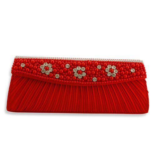 J Francis Luxurious Red Satin Clutch Bag With White Austrian Crystal and Red Glass Pearl