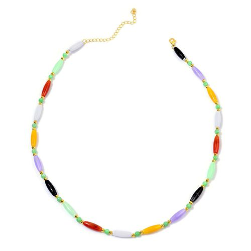 Multi Colour Jade Necklace (Size 18 with 3 inch Extender) in Yellow Gold Overlay Sterling Silver 70.600 Ct.