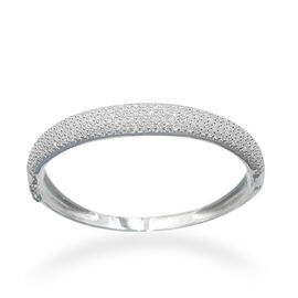 ELANZA AAA Simulated Diamond (Rnd) Bangle in Rhodium Plated Sterling Silver (Size 7)