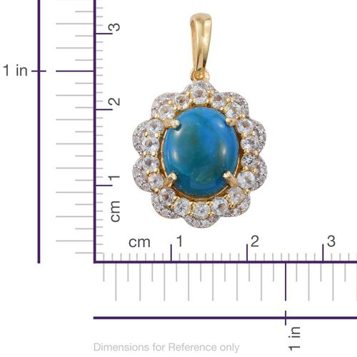 Natural Rare Opalina (Ovl 3.75 Ct), Sky Blue Topaz and Natural Cambodian Zircon Pendant in 14K Gold Overlay Sterling Silver 5.000 Ct.