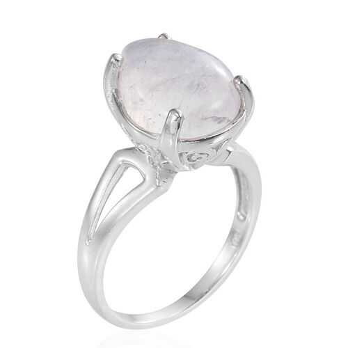 Natural Rainbow Moonstone (Pear) Solitaire Ring in Platinum Overlay Sterling Silver 7.000 Ct.
