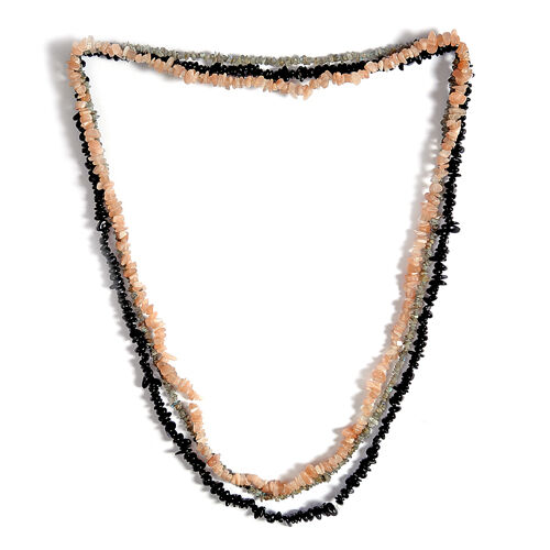 Black Tourmaline, Peach Moonstone, Labradorite Set of  3 Necklace (Size 36.00) Set 595.700 Ct.
