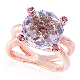 Rose De France Amethyst (Rnd 5.75 Ct), Rhodolite Garnet Ring in Rose Gold Overlay Sterling Silver 6.000 Ct.