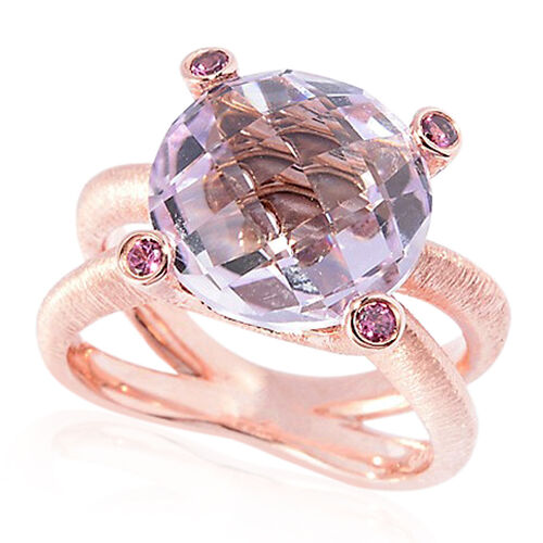Rose De France Amethyst (Rnd 5.75 Ct), Rhodolite Garnet Ring in Rose Gold Overlay Sterling Silver 6.000 Ct.