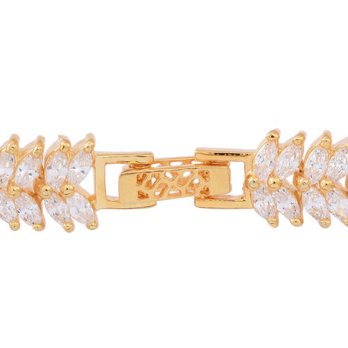 ELANZA AAA Simulated White Diamond (Mrq) Double Strand Bracelet (Size 7) in 14K Gold Overlay Sterling Silver