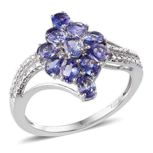 Tanzanite (Ovl) Ring in Platinum Overlay Sterling Silver 1.750 Ct.