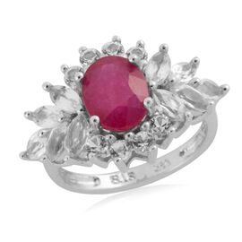 African Ruby (Ovl 2.72 Ct), White Topaz Ring in Sterling Silver 5.160 Ct.