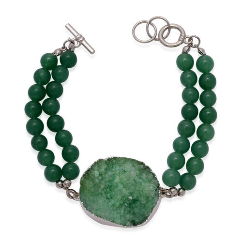 Green Drusy Quartz and Green Quartzite Pendant With Chain and Bracelet (Size 7.5) in Stainless Steel
