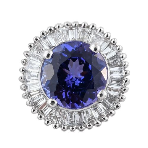 RHAPSODY 950 Platinum AAAA Tanzanite (Rnd 1.00 Ct), Diamond (VS/ E-F) Pendant 1.250 Ct.