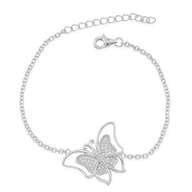 ELANZA AAA Simulated White Diamond (Rnd) Butterfly Bracelet (Size 6.5 with 1 inch Extender) in Rhodium Plated Sterling Silver