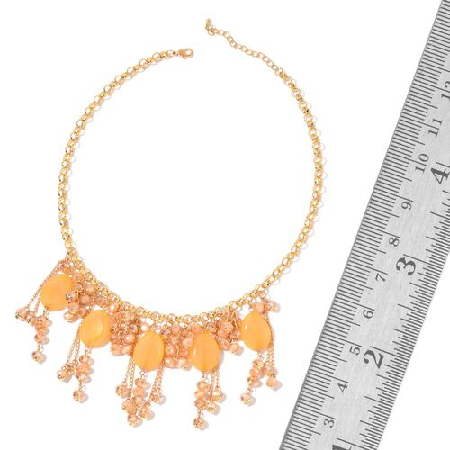 Simulated Champagne Diamond Necklace (Size 20 with 3 inch Extender) in Yellow Gold Tone