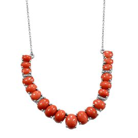 Natural Mediterranean Coral (Ovl 1.00 Ct), Diamond Necklace (Size 18) in Platinum Overlay Sterling Silver 12.270 Ct.