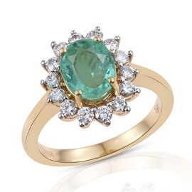 ILIANA 18K Y Gold Boyaca Colombian Emerald (Ovl 1.95 Ct), Diamond Ring 2.500 Ct.