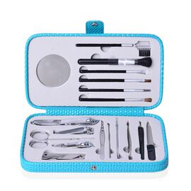 Minicare Kit Includes (6 pcs Make-Up Brushes), 1pc Mirror and 11pcs Manicure Tools in a Turquoise Colour Box (Size 20x10x4 Cm)
