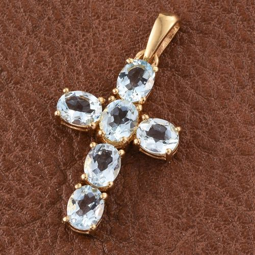 Espirito Santo Aquamarine 1.75 ct. Silver Cross Pendant in Gold Overlay