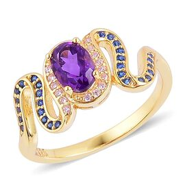 Amethyst, Simulated Tanzanite and Simulated Pink Sapphire Ring in Yellow Gold Overlay Sterling Silver