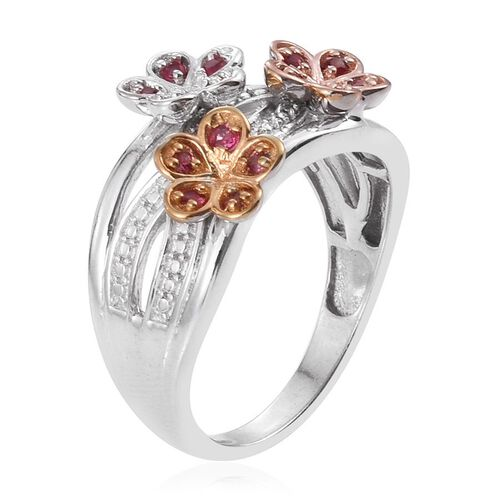 Mahenge Spinel (Rnd) Triple Floral Ring in Yellow Gold, Rose Gold and Platinum Overlay Sterling Silver