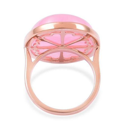 Pink Jade (Ovl) Ring in Rose Gold Overlay Sterling Silver 28.250 Ct.