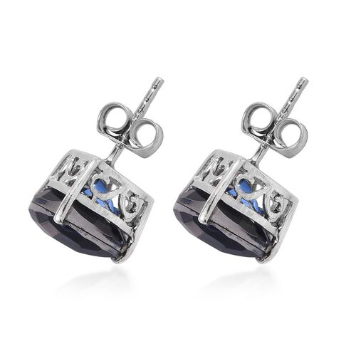 Checkerboard Cut Ceylon Colour Quartz (Trl) Stud Earrings (with Push Back) in Platinum Overlay Sterling Silver 7.500 Ct.