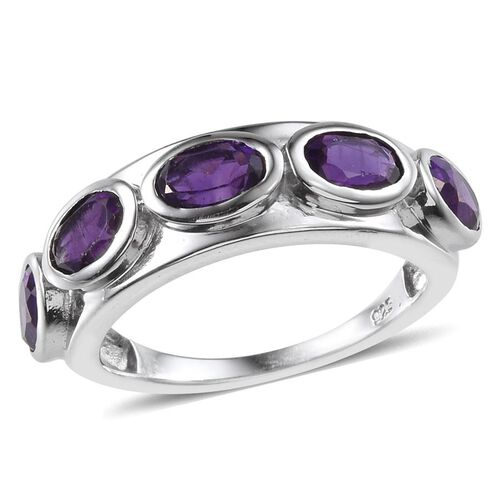 Lusaka Amethyst (Ovl) 5 Stone Ring in Platinum Overlay Sterling Silver 2.000 Ct.