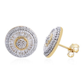 Diamond (Rnd) Stud Earrings (with Push Back) in 14K Gold Overlay Sterling Silver 1.000 Ct.