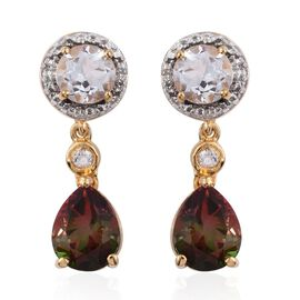 Bi-Color Tourmaline Quartz (Pear), White Topaz Earrings (with Push Back) in 14K Gold Overlay Sterling Silver 6.000 Ct.