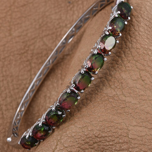 Bi-Color Tourmaline Quartz (Ovl) Bangle (Size 7.5) in ION Plated Platinum Bond 14.250 Ct.