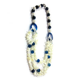 Mother of Pearl, Blue Agate Necklace (Size 36) in Silvertone 1000.000 Ct.
