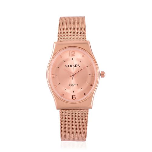 STRADA Japanese Movement Rose Dial Water Resistant Watch in Rose Gold Tone with Stainless Steel Back and Chain Strap