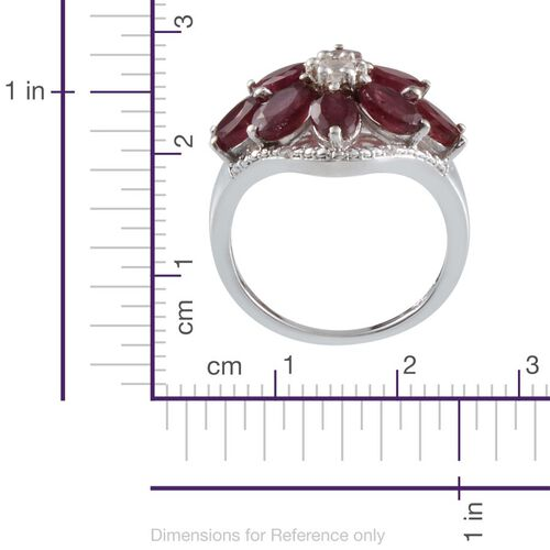 African Ruby (Ovl), White Topaz and Diamond Ring in Platinum Overlay Sterling Silver 5.550 Ct.