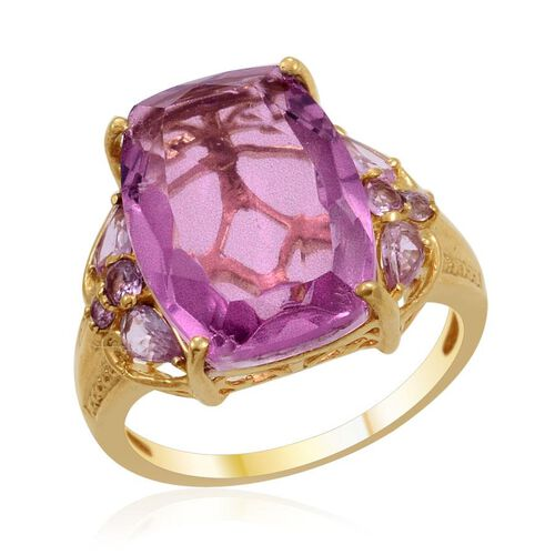 Kunzite Colour Quartz (Cush 12.75 Ct), Pink Sapphire Ring in 14K Gold Overlay Sterling Silver 13.560 Ct.