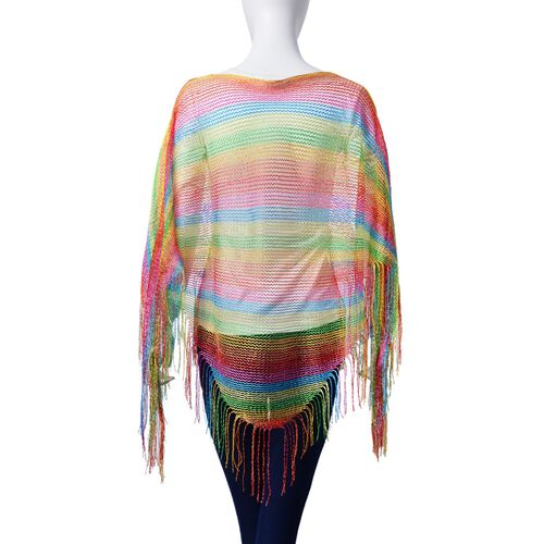 Multi Colour Poncho with Tassels (Size 165x60 Cm)