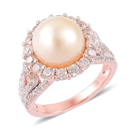 Limited Edition-South Sea Golden Pearl (Rnd 11-11.5mm), Natural Cambodian Zircon Ring in Rose Gold Overlay Sterling Silver 12.310 Ct.