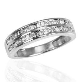 9K W Gold SGL Certified Diamond (Rnd) (I 3/G-H) Half Eternity Ring 0.500 Ct.