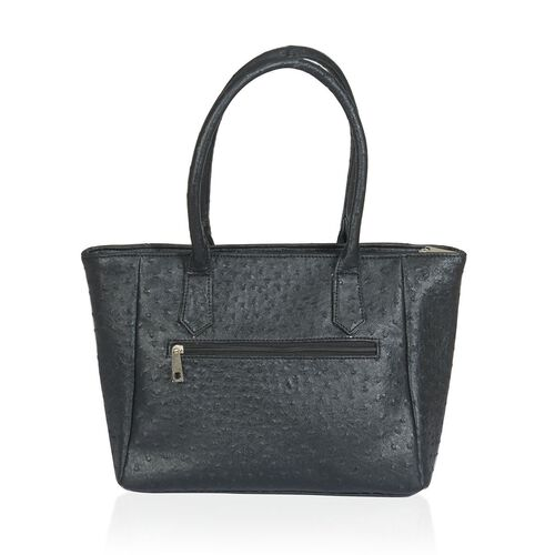 Ostrich Pattern Black Colour Hand Bag (Size 16x4.5x10 inch)