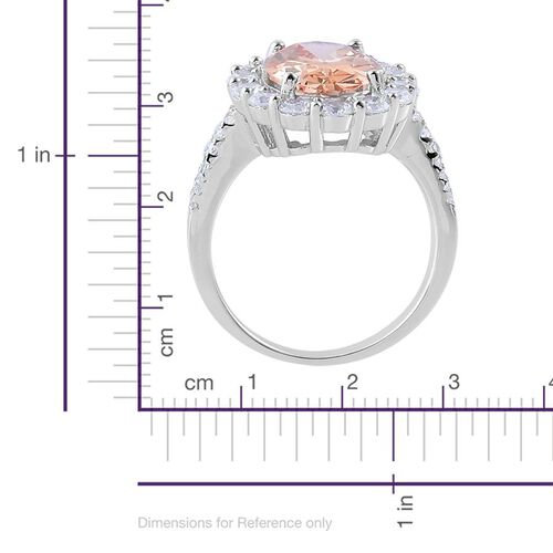 ELANZA AAA Simulated Champagne and White Diamond Ring in Rhodium Plated Sterling Silver