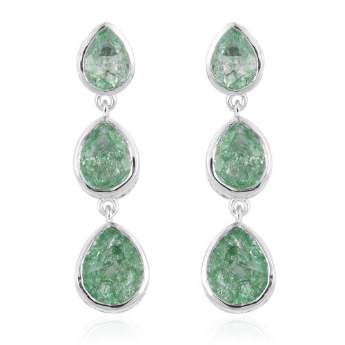Emerald Green Crackled Quartz (Pear) Earrings (with Push Back) in Platinum Overlay Sterling Silver 9.750 Ct.